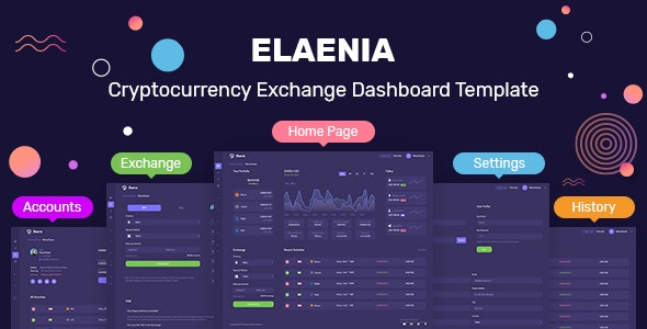 Elaenia Cryptocurrency Exchange Dashboard Template