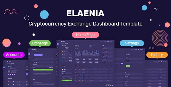Elaenia - Cryptocurrency Exchange Dashboard Template + Landing Page