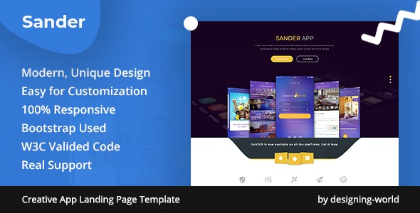 Sander - Creative App Landing Page Template - Apps Technology