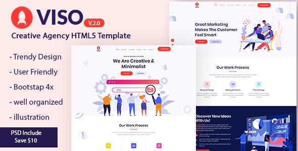 VISO - Creative Agency Portfolio Landing Page Template - Creative Site Templates