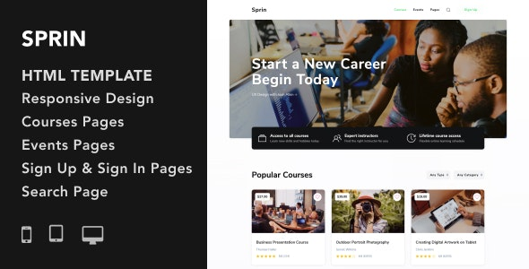 Sprin - Courses and Events HTML5 Responsive Template - Miscellaneous Specialty Pages