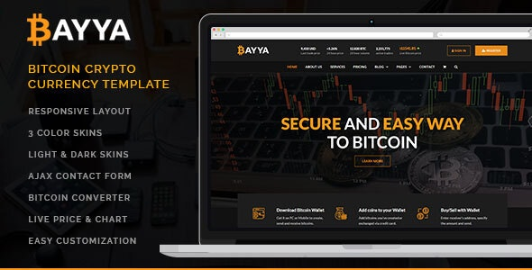 Bayya - Bitcoin Crypto Currency Template - Corporate Site Templates