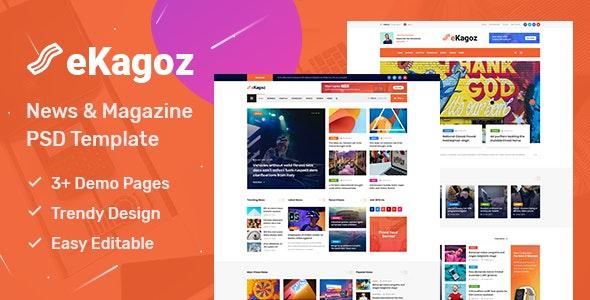 eKagoz - Blog, News & Magazine PSD Template - Miscellaneous PSD Templates