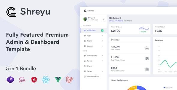 Shreyu - Admin & Dashboard, Angular, React, Vue and Laravel - Admin Templates Site Templates