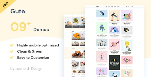 Gute | Minimalist Blog PSD Template - Personal PSD Templates