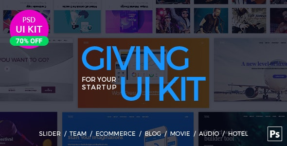 UI Kit for Your Startup - Photoshop UI Templates