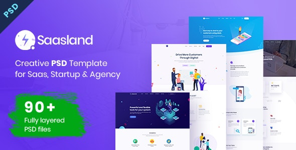 Saasland | MultiPurpose PSD Template for Startup & Agency - Technology Photoshop