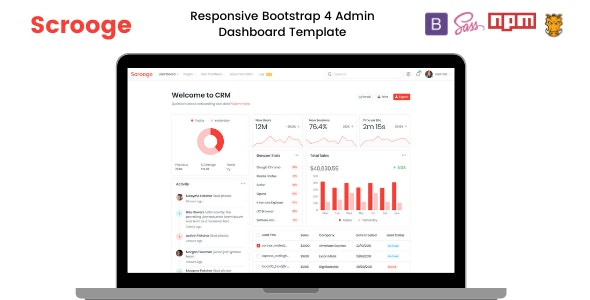 Scrooge - Responsive  Admin Dashboard Template - Admin Templates Site Templates