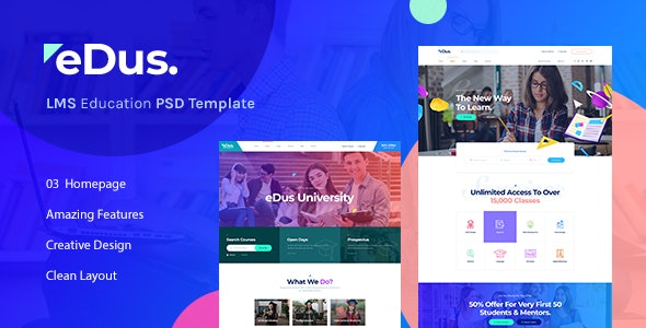 Edus - LMS & Online Education Learning PSD Template - Corporate Photoshop