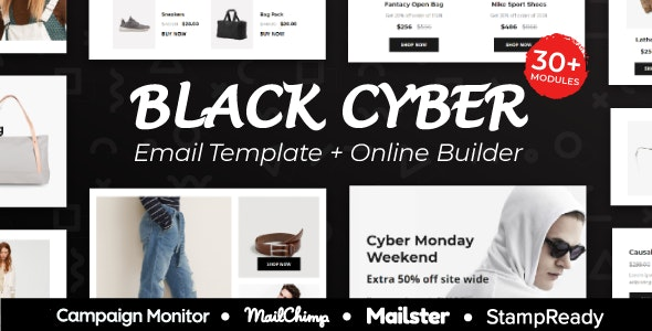 Black- Friday Sales - Responsive Email - Template + Online Builder + Mailchimp Editor & Mailster - Newsletters Email Templates