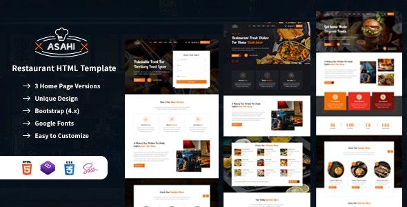 Asahi - Food & Restaurant HTML Template - Restaurants & Cafes Entertainment