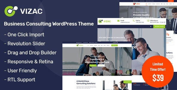 Vizac - Consulting Business WordPress Theme - Business Corporate