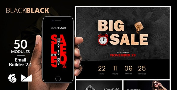 Black Black Friday Email Template + Online Builder 2.1 - Newsletters Email Templates