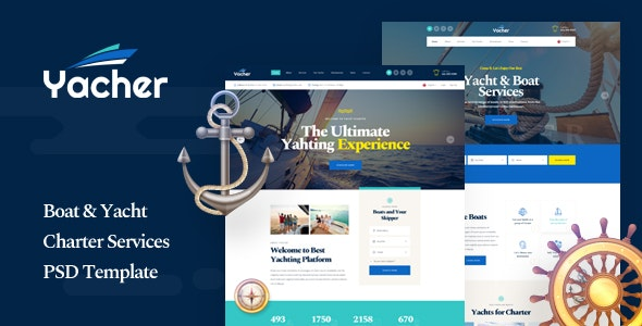 Yacher - Boat & Yacht Charter Services PSD Template - Travel Retail