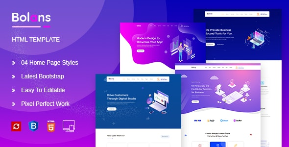 Bolans - HTML5 SASS Template for Startup & Agency - Software Technology