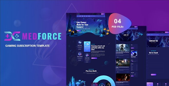 Medforce - Gaming Subscription Website PSD Template - Entertainment PSD Templates