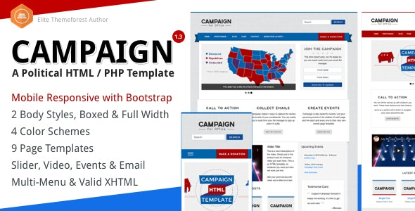 Campaign - Political HTML Website Template - Political Nonprofit