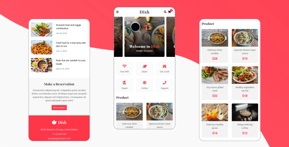 Dish - Cafe, Food and Restaurant Mobile Template - Mobile Site Templates