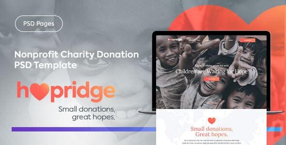 Hopridge - Nonprofit Charity Donation PSD Template - Nonprofit Photoshop
