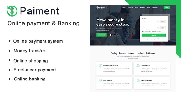 Paiment - Online Payment & Banking HTML Template - Technology Site Templates