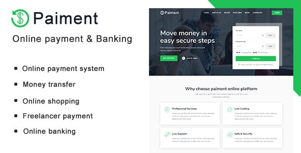 Paiment - Online Payment & Banking HTML Template