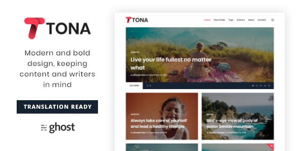 Tona - Content Focused Blog And Magazine Ghost Theme