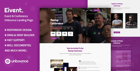 Eivent — Conference & Event Unbounce Landing Page Template - Unbounce Landing Pages Marketing