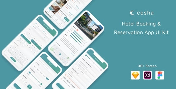Cesha - Hotel Booking & Reservation App UI Kit - Corporate Sketch