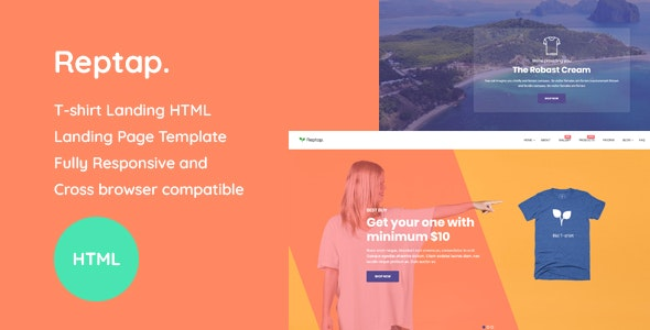 Reptap - T-shirt Landing Page HTML Template - Marketing Corporate