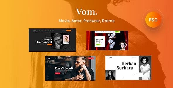 Vom - Multipurpose Film Maker , Video , Movie & Actor PSD Template - Film & TV Entertainment