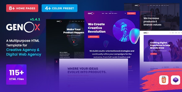 Genox - Creative & Digital Web Agency Multipurpose HTML Template - Creative Site Templates