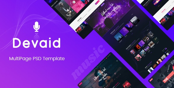 Devaid - MultiPage Psd Template - Entertainment Photoshop