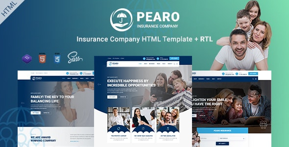 Pearo - Insurance Company HTML Template - Corporate Site Templates