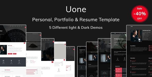 UOne - personal, portfolio and resume template - Personal Site Templates