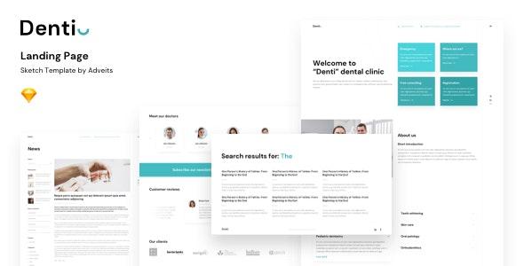 Denti - Landing page Sketch Template - Sketch UI Templates