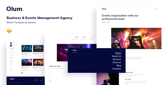 Olum - Business & Events Management Agency Sketch Template - Business Corporate