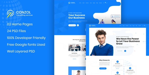 Conzol - Business Consultancy PSD Template - Business Corporate