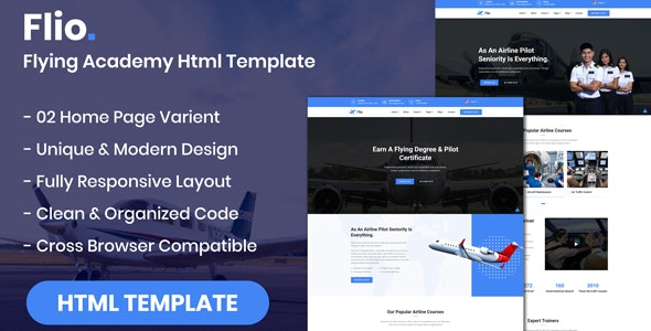 Flio - Flying Academy HTML Template - Business Corporate