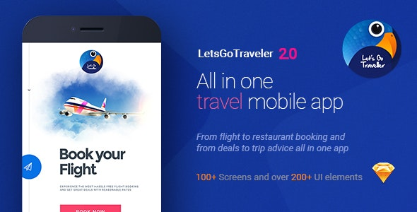 LetsGo Traveller 0.2 | All in One Holiday Sketch UI kit - Sketch Templates