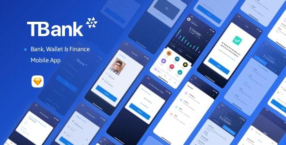 TBank | Bank, Wallet & Finance Mobile App - Sketch UI Templates