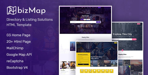 BizMap - Business Directory Listing HTML Template - Corporate Site Templates