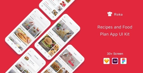 Roka - Recipes and Food Plan App UI Kit - Sketch UI Templates