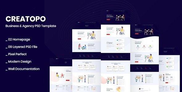 Creatopo- Agency and Business PSD Template - Corporate PSD Templates
