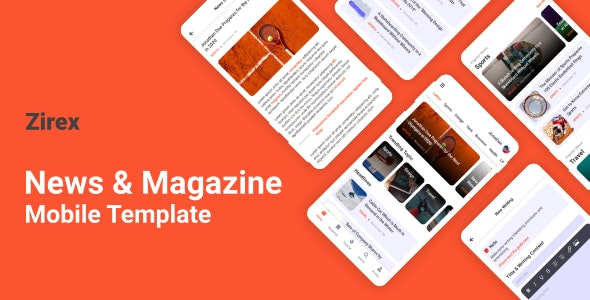 Zirex - News & Magazine Mobile Template - Mobile Site Templates