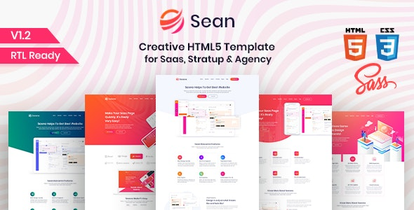 Sean - Saas, Software & App Landing Page HTML Template - Technology Site Templates