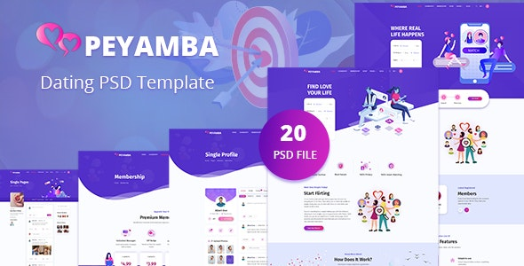 Peyamba - Dating Website PSD Template - Entertainment PSD Templates