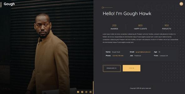 Gough - Personal Portfolio Template - Personal Site Templates