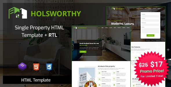 Holsworthy - Single Property HTML Template - Business Corporate