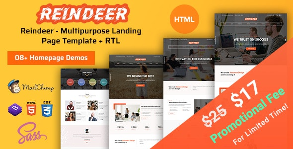 Reindeer - Landing Page HTML Template - Corporate Site Templates