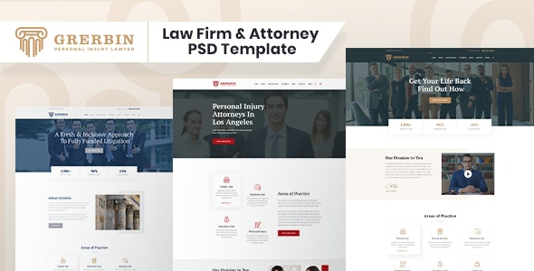 Grerbin- Law Firm and Attorney PSD Template - Corporate PSD Templates